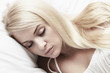sleep beautiful blond woman. beauty girl. white dress