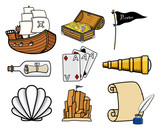 Carious Pirates Story Icons - Cartoon Vector Illustration