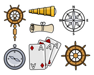 Ancient Ship Icons - Cartoon Vector Illustration