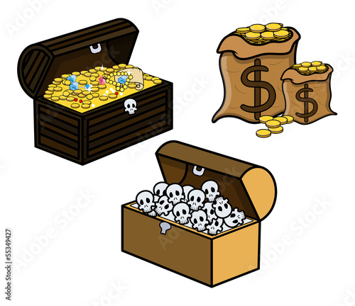 Treasure and Skull Filled Trunks and Bag of Coins - Vector