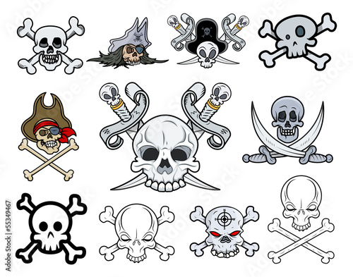 Set of Danger Skulls Vector Illustrations