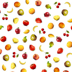 Background with fruits arranged randomly