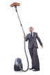 Businessman doing vacuum cleaning on white