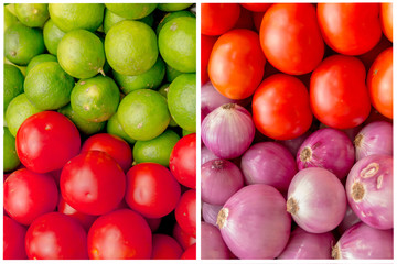 Collage of colorful vegetables and fruits grocery basket.