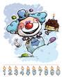 Clown Carrying a Boy's Birthday Cake