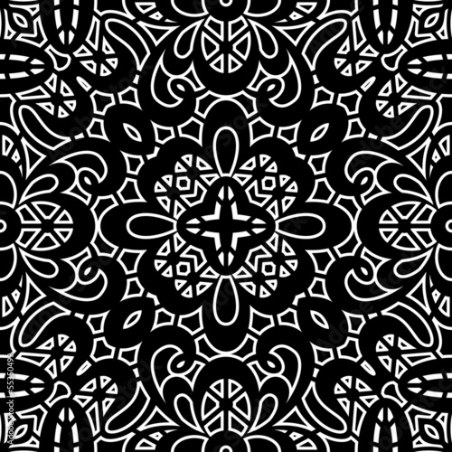 Vintage ornament, black and white seamless pattern