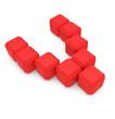 letter V cubic red