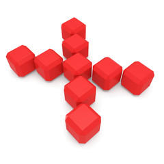 letter X cubic red