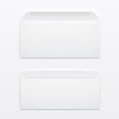 Blank envelopes on gray background.