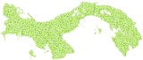 Map of Panama - Central America - in a mosaic of green squares