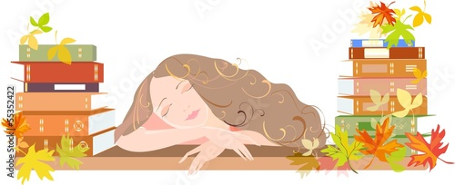 Sleeping girl with schoolbooks and autumn leaves
