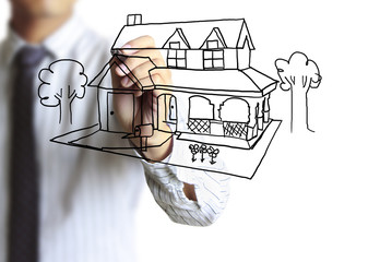 drawing house in a whiteboard
