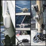Detail shot collage of yacht sailboats