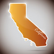 vintage sticker in form of California state, USA
