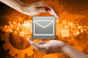 Email icon in hand , business background