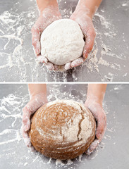 hand with the dough and bread