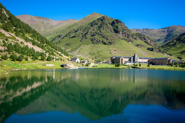 View of Vall de Nuria Sanctuary in the catalan pyrenees.Spain