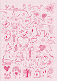 Set of girlish objects