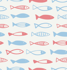 Decorative drawn pattern with funny fish