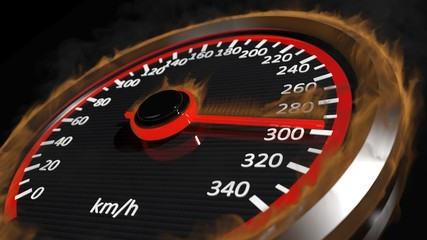 Fire speedometer with moving arrow