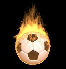 Fire soccer ball on black background