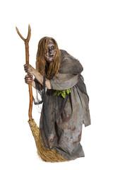 Hexe oder Kräuterfrau mit Besen