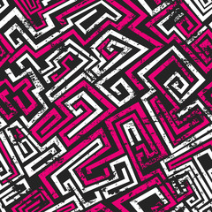 abstract pink maze seamless pattern with grunge effect