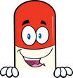 Pill Capsule Cartoon Character Over Blank Sign