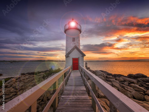 Lighthouse in Gloucester, MA. USA - 55358425