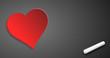 Herz auf Tafel mit Kreide