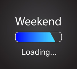"inscription ""loading Weekend"" vector concept background"