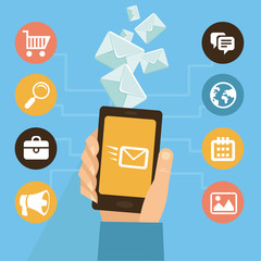 Vector mobile app - email marketing and promotion