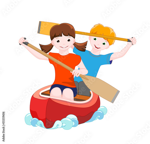 two children on red canoe