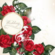 Wedding background with red roses for design
