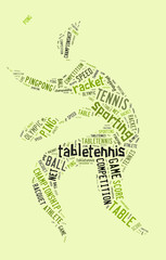 Table tennis pictogram with green words