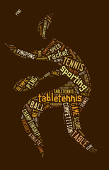 Table tennis pictogram with brown words