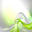 Abstract gray waving background with green element