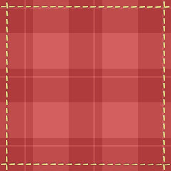 Red checkered background with stitches