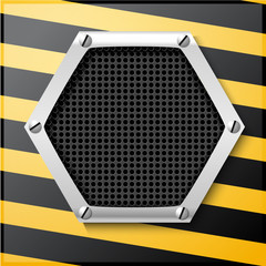 Abstract metallic striped black and yellow background