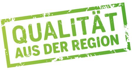 Grüner Button zerkratzt Qualität aus der Region