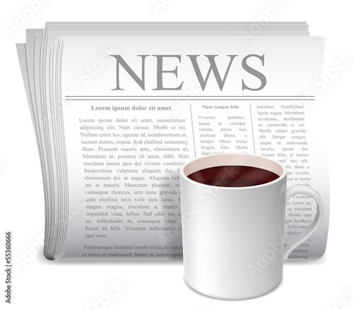 Newspaper and coffee cup.
