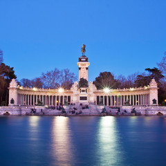Monument fo Alfonso XII in Retiro city park, Madrid, Spain.