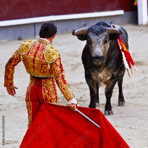 Foto op Canvas Stierenvechten Traditional corrida - bullfighting in spain