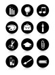 Vector school icons silhouettes