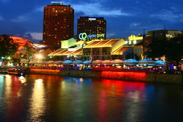 Clark Quay, Singapore River, City by  Night