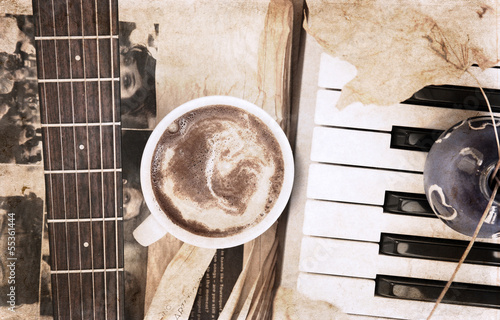 artwork  in vintage style,  cup of coffee and musical instrument