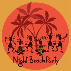 Funny invitation to night beach party