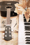 artwork  in vintage style, guitar and fortepiano