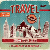 Vintage travel poster with labels and famous building poster