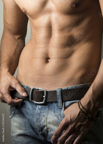 Closeup photo of handsome shirtless man